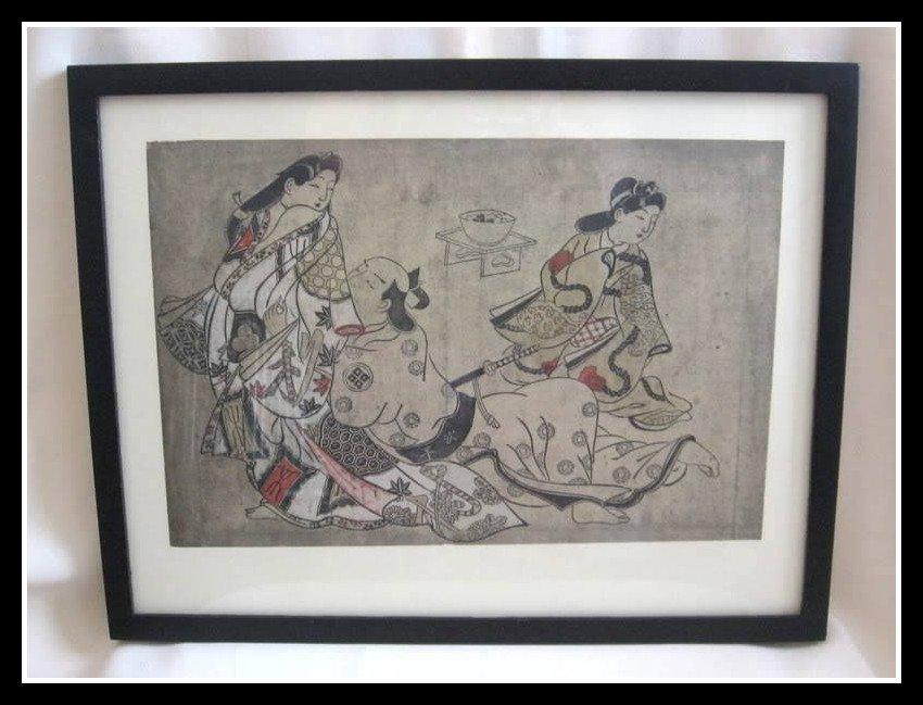 Japanese Art Print SUGIMURA JIHEI MASATAKA The Insistent Lover Vintage Rare