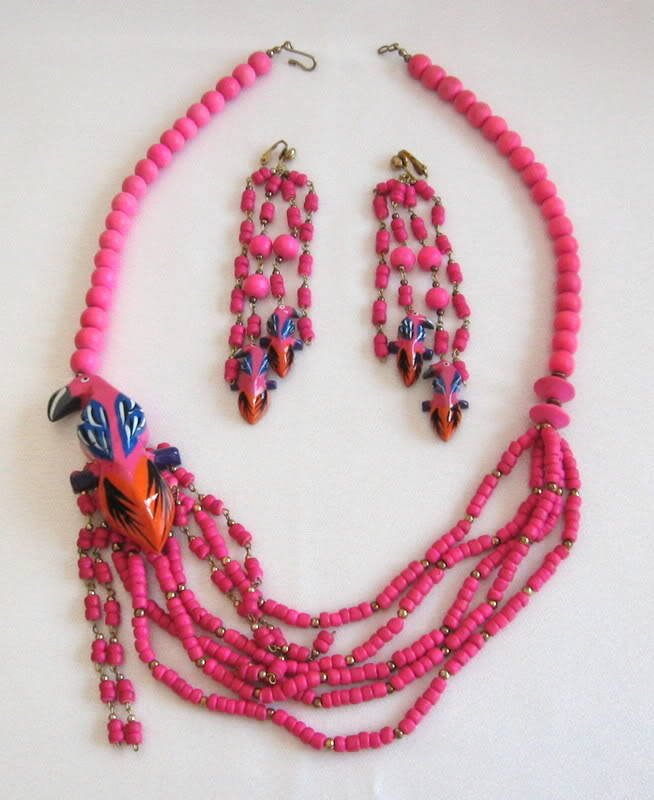 Pink Parrot Bird Necklace & Earrings Vintage Set Large Unique