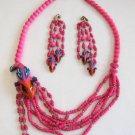 Pink Parrot Bird Necklace & Earrings Vintage Set Large Unique