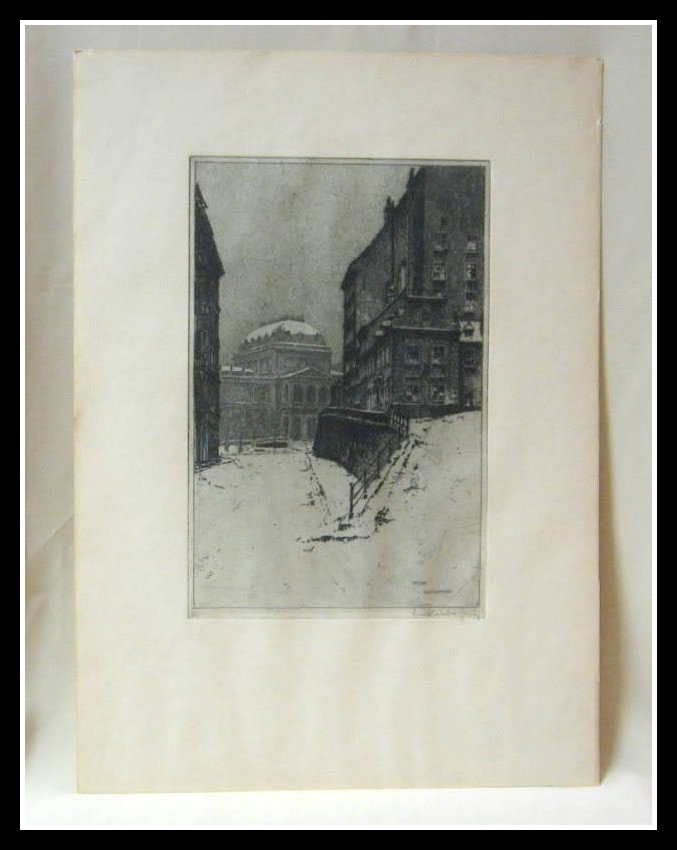 Antique Wien University Vienna Print Signed Edenberg