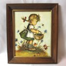 Hummel Girl Child Print In Wooden Frame 12x10 Signed Evans Vintage Wall Decor