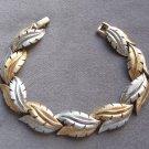 Vintage Brushed Silver And Gold Leaf Bracelet Retro
