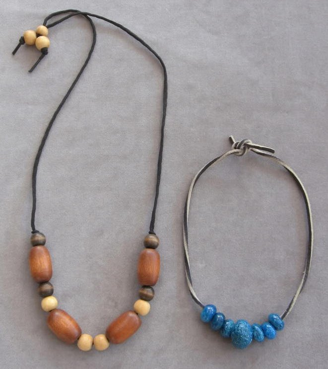 Wooden & Turquoise Ceramic Necklaces Handmade Vintage