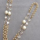 Crystal Bezel Pearl Necklace Vintage Retro 1970s