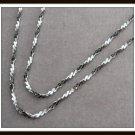 Enamel Metal Chain Necklace Black & White Vintage Retro Korea