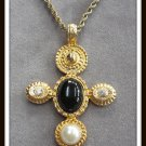 Black Cabochon Rhinestone Cross Pendant Necklace Vintage