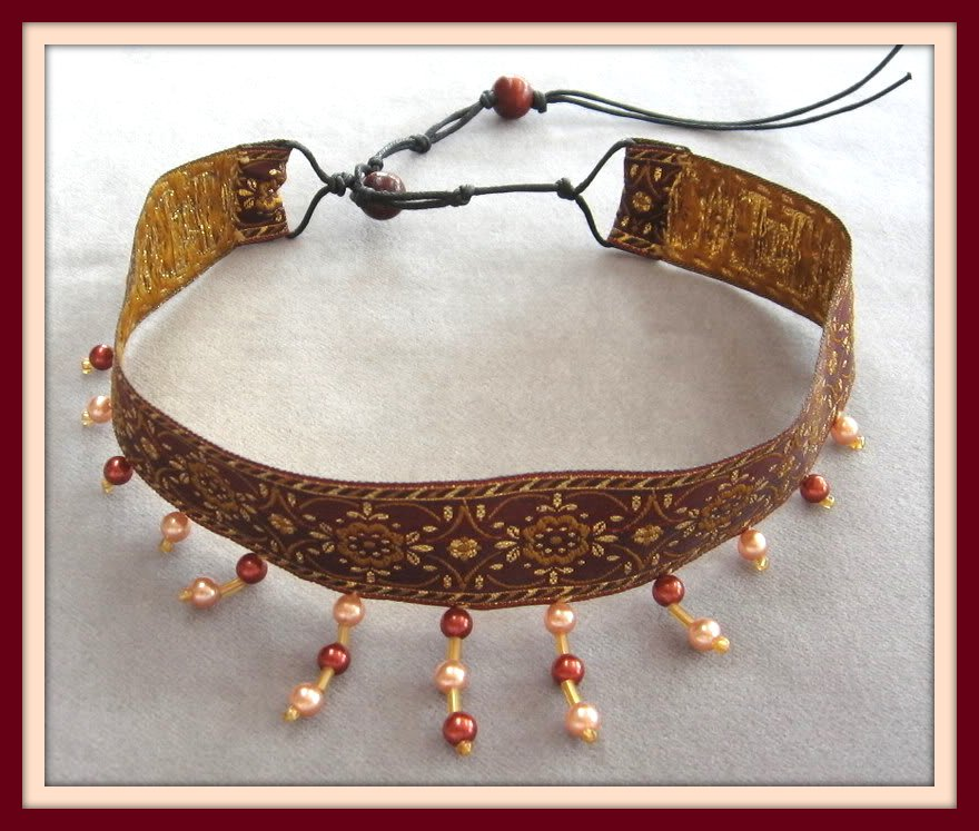 Cloth Choker Beaded Necklace Vintage Handcrafted