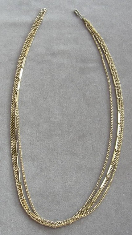 Multiple 4 Strand Gold Necklace Signed Japan Vintage