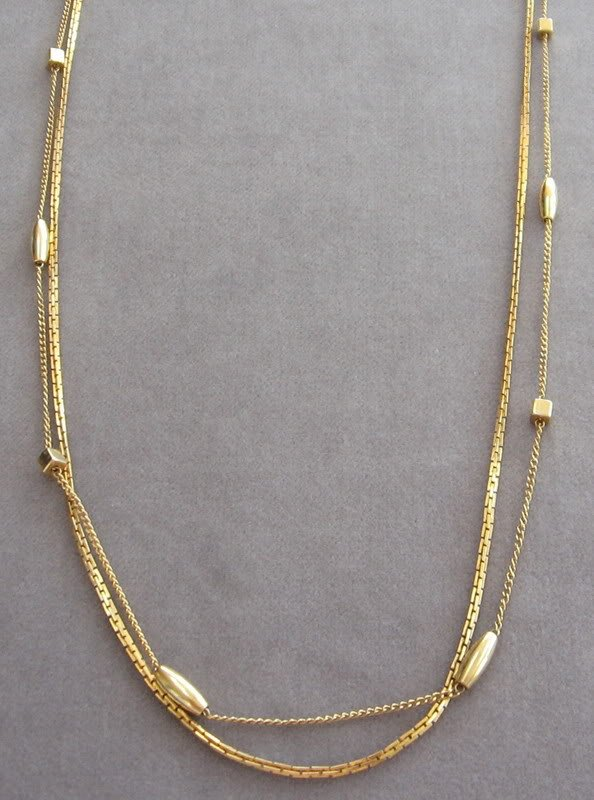 Double Strand Gold Beaded Vintage Necklace Retro 70's