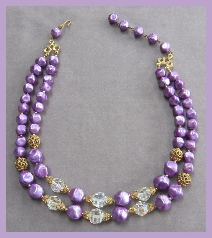 Double Strand Purple Aurora Borealis Crystal Beaded Necklace Vintage 1950's
