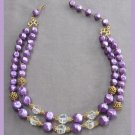 Double Strand Purple Aurora Borealis Crystal Beaded Necklace Vintage 1950's