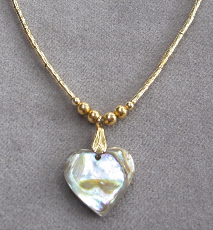 Abalone Heart Pendant Gold Necklace Vintage 1970's