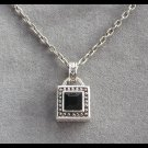 Silver Black Stone Pendant Necklace Vintage 80's
