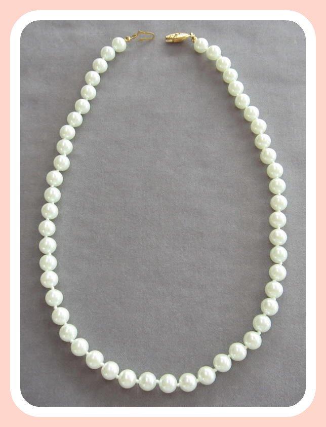 Retro Glass Pearl Bead Necklace Vintage
