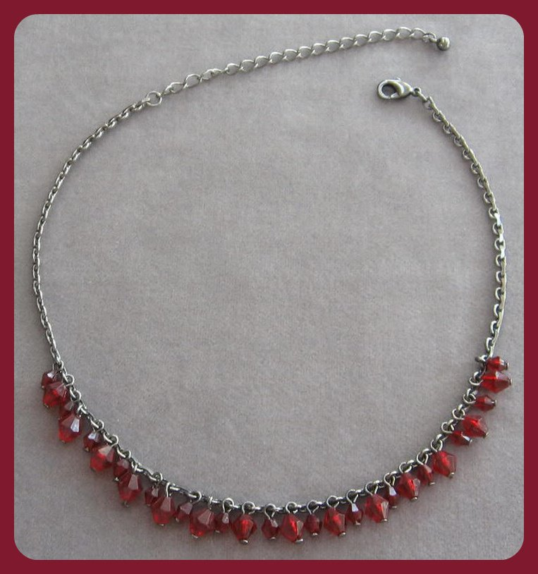 Red Bicone Dangle Beaded Necklace