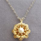 Flower Pearl Pendant Necklace 12KT Gold Vintage