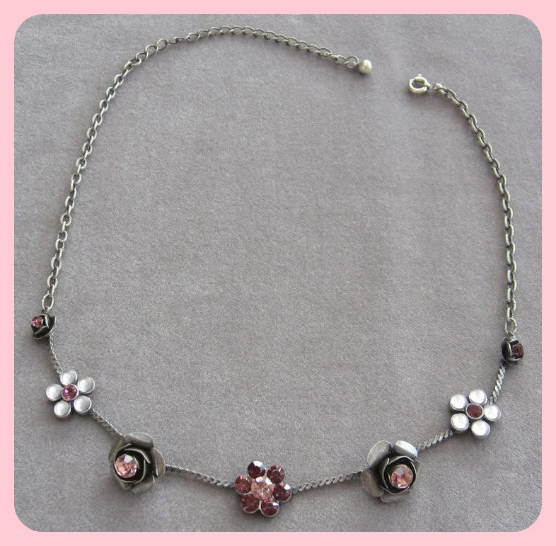 Pink & Purple Jeweled Flower Pendant Necklace Pewter