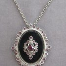 Vintage Purple Stone Black Cameo Brooch Pin Pendant Necklace