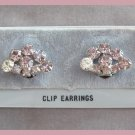 Vintage Purple Rhinestone Clip On Earrings Retro 50's