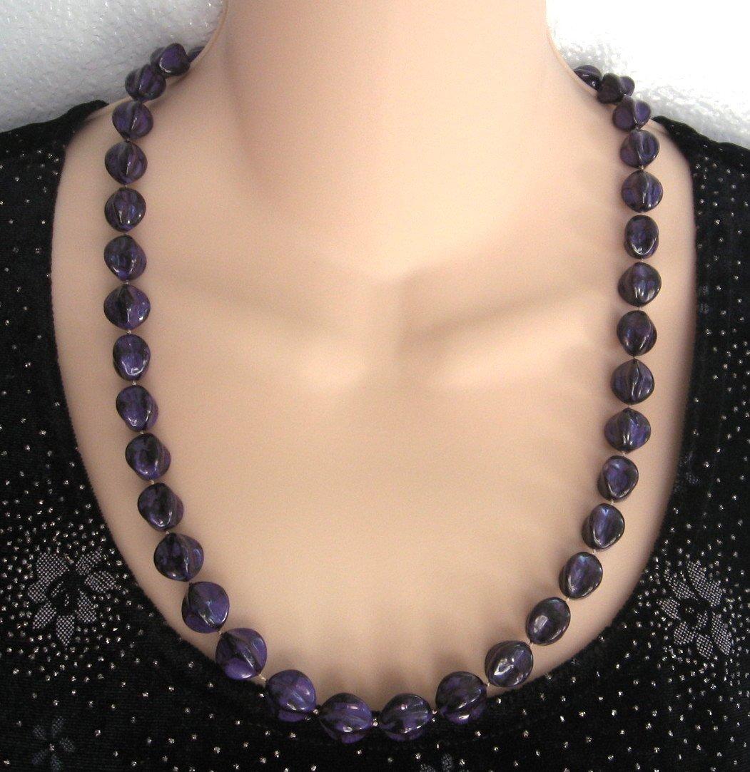 Purple Black Beaded Necklace Unique Shape Vintage