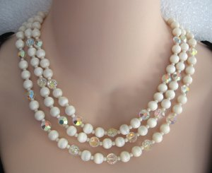 Triple Strand White Moonstone Moonglow Aurora Borealis Crystal Bead Necklace Vintage 1950's