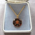 1990 Hand Painted One Cent Penny Coin Bezel Pendant Necklace Two Sided Queen Elizabeth