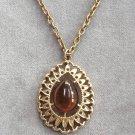 Golden Teardrop Amber Pendant Necklace Designer Sarah Coventry Vintage