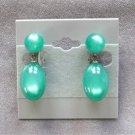 Vintage Moonstone Green Dangle Screw Back Earrings Moonglow 1950's
