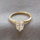 Ladies Large Solitaire Pear Cut Crystal Stone Ring Size 10-11