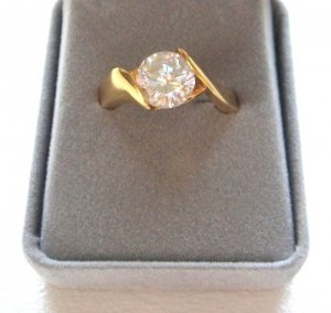 Ladies Large Round Solitaire Crystal Cut CZ Stone Ring Size 10-11