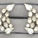 Vintage Large Pear Shaped Rhinestone Screw Back Earrings Sparkly Retro 1950's Sterling