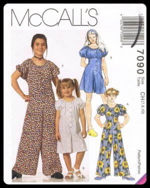 McCall's Sewing Pattern #7090 Childrens & Girls Jumpsuit Romper Sizes 7-10