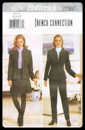 Butterick Sewing Pattern #4678 French Connection Jacket Skirt & Pants Misses Sizes 14-18