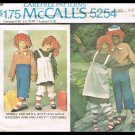 Kids Costumes Raggedy Ann & Andy McCall&#39;s Sewing Pattern No. 5254 Vintage 1976 Boys Girls Sizes 6-8