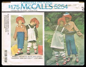 Kids Costumes Raggedy Ann & Andy McCall's Sewing Pattern No. 5254 Vintage 1976 Boys Girls Sizes 6-8