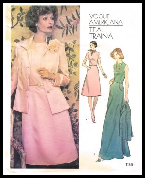 Vogue Americana Teal Traina Designer Sewing Pattern #1185 Misses Dress & Jacket Size 14 1/2 Vintage