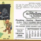 Ink Blotter Funny Monkey Characters Calendar of Ed The Plumber Vintage September 1940