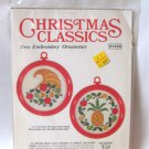 Christmas Classics Two Embroidery Ornaments Kit No. 1434 Studio 12 Vintage 1980