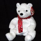 2000 White Holiday Teddy Bear Ty Beanie Baby Retired