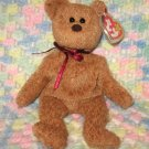 Curly The Tan Bear Ty Beanie Baby Retired 1998