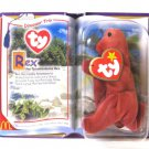 Retired Dinosaur Rex Tyrannosaurus Ty Teenie Beanie Baby 2000 In Pkg
