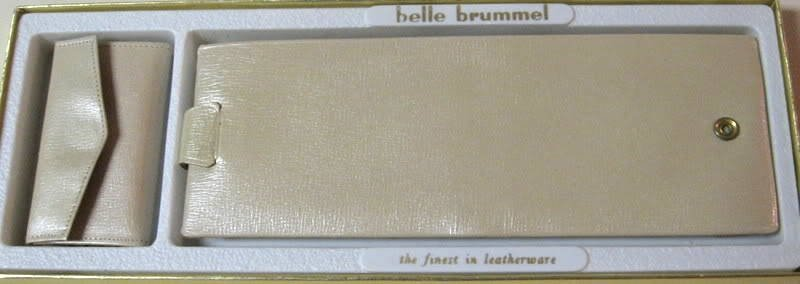 Leather Pearlized Calfskin Wallet & Key Wallet Vintage Belle Brummel 2 Pc. Set Beige Retro