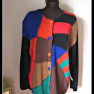 Designer Victoria Woman Patchwork Colorful Sweater Misses Size 2X