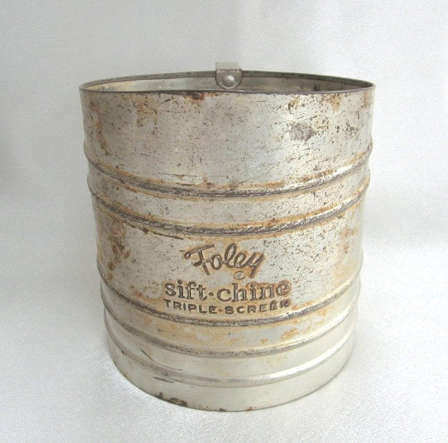 Foley Sift Chine Triple Screen Flour Sifter Vintage Aluminum Steel Large