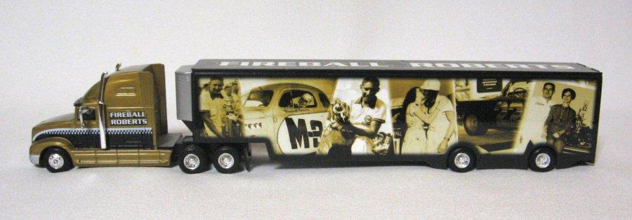 Nascar Fireball Roberts Large Trailer Hauler Transporter Tribute Diecast Toy Truck By Hotwheels