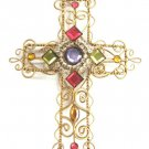 Fancy Jeweled Puffed Cross Wall Decor Ornament Religious Handmade