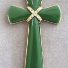 Large Jade Cross Pendant By Avon Vintage 1973