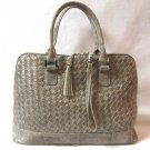 Leslie Fay Designer Handbag Purse Basket Weave Leatherette Snake Taupe Color