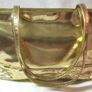 Bloomingdales Large Flashy Quilted Metallic Gold Handbag Purse Vintage 80s