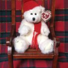 Ty Attic Treasure Peppermint White Holiday Bear Plush Retired